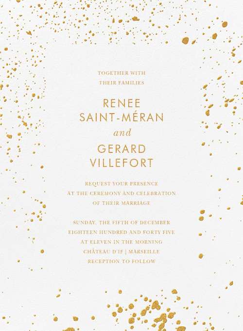 Splatter Cloth I (Invitation) - Gold - Paperless Post - Modern wedding invitations