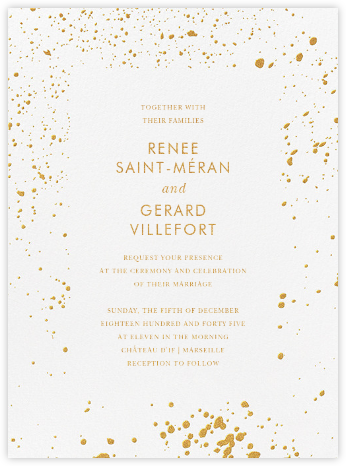Splatter Cloth I (Invitation) - Gold - Paperless Post - Wedding Invitations