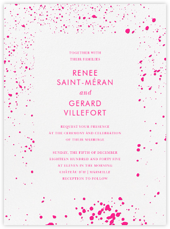 Splatter Cloth I (Invitation) - Neon Pink - Paperless Post - Wedding invitations
