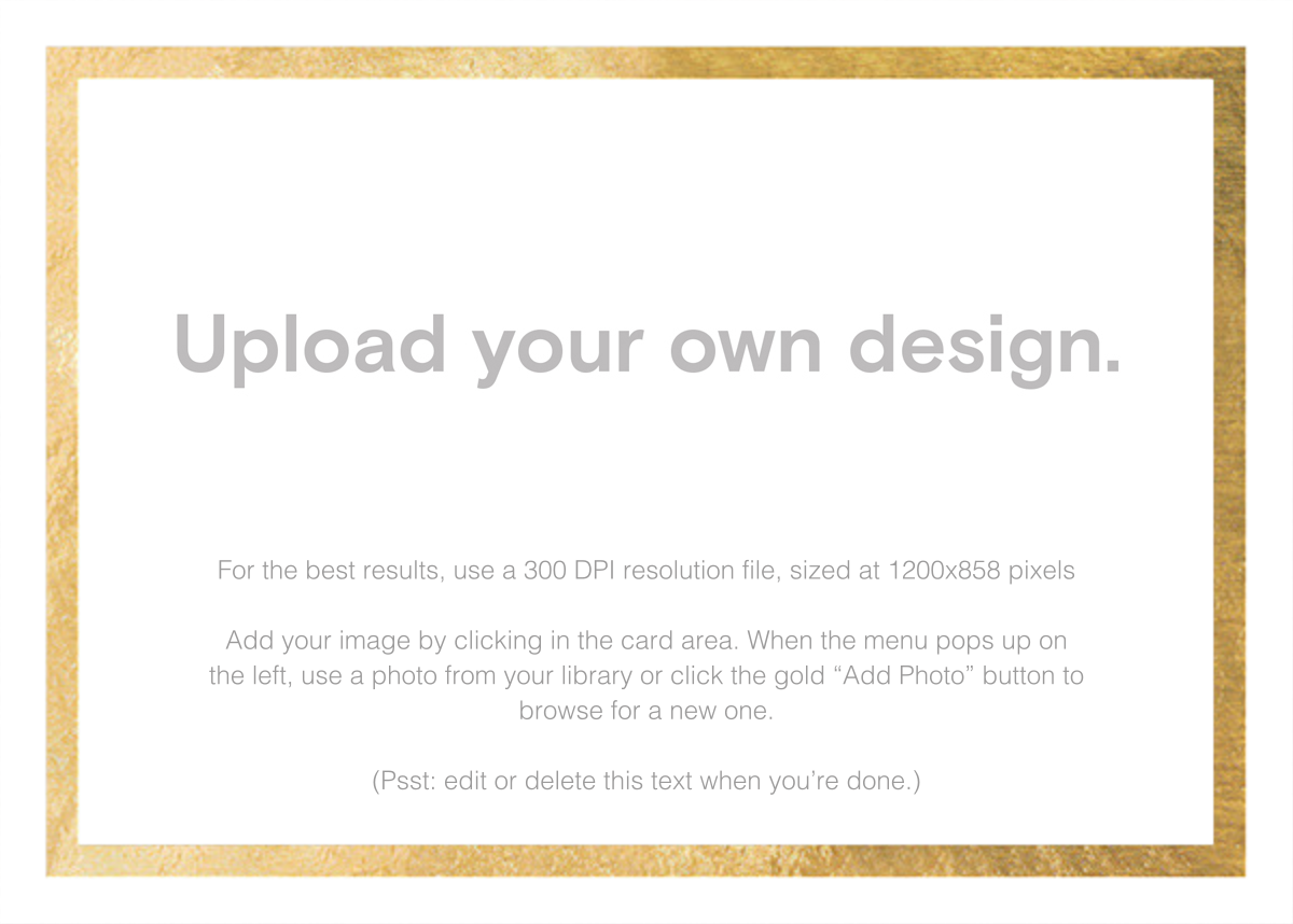 Custom Foil (Two-Sided Horizontal) - Gold - Paperless Post - Upload your own