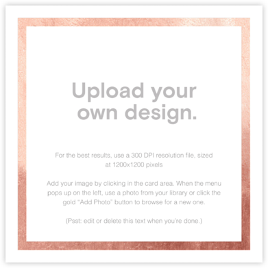 Custom Foil (Two-Sided Square) - Rose Gold - Paperless Post - Upload your own
