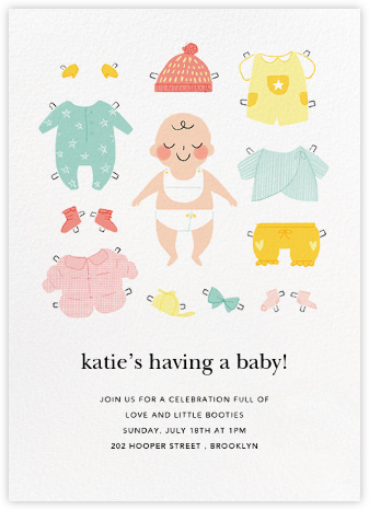 Diapered and Dapper - Meringue - Paperless Post - Baby shower invitations