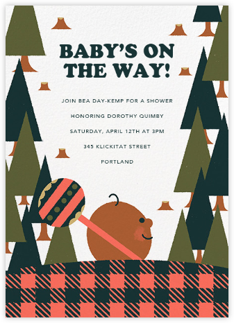 Lumber Party - Mahogany - Paperless Post - Woodland Baby Shower Invitations