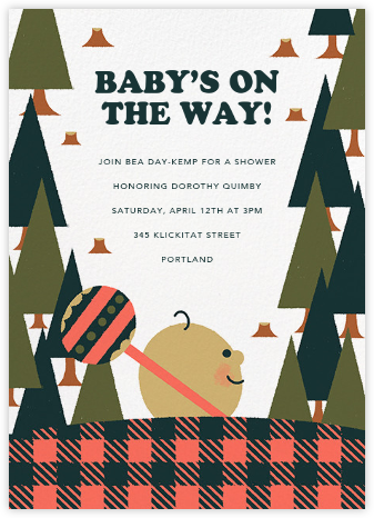 Lumber Party - Dawn - Paperless Post - Woodland Baby Shower Invitations