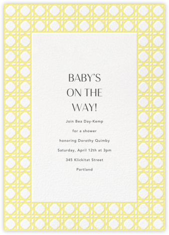 Rattan - Lemon Drop - Paperless Post - Baby Shower Invitations
