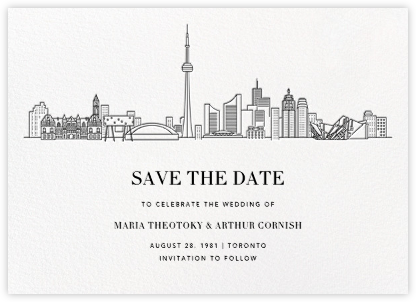 Toronto Skyline View (Save the Date) - White/Black | null