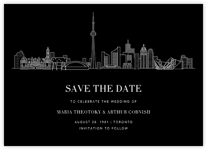 Toronto Skyline View (Save the Date) - Black/White | null