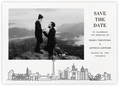 Toronto Skyline View (Photo Save the Date) - White/Black | null