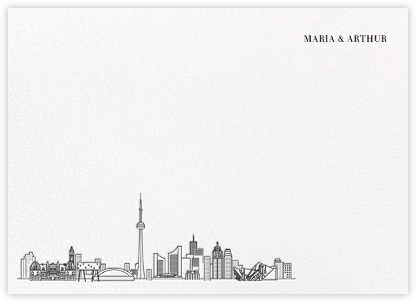Toronto Skyline View (Stationery) - White/Black | null