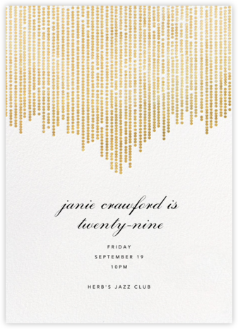 Josephine Baker - White/Gold - Paperless Post - Adult Birthday Invitations