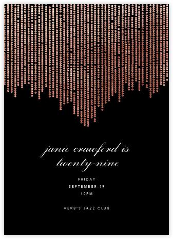 Josephine Baker - Black/Rose Gold - Paperless Post - Adult Birthday Invitations