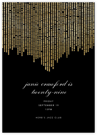 Josephine Baker - Black/Gold - Paperless Post - Adult Birthday Invitations