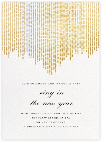 Josephine Baker - White/Gold - Paperless Post - New Year's Eve Invitations