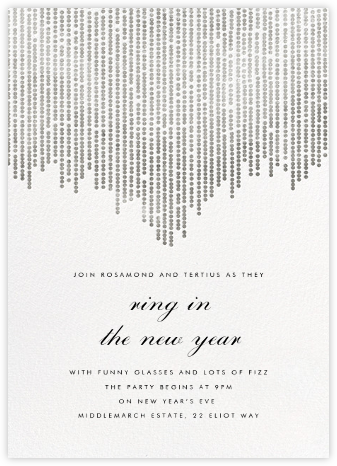 Josephine Baker - White/Silver - Paperless Post - New Year's Eve Invitations