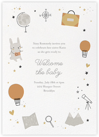 Bunny's Big Adventure - Little Cube - Baby shower invitations