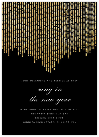 Josephine Baker - Black/Gold - Paperless Post - New Year's Eve Invitations