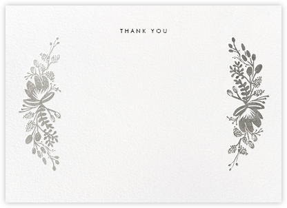 Floral Silhouette (Stationery) - Silver - Rifle Paper Co. - Wedding thank you notes