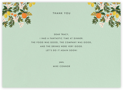 Citrus Orchard Suite (Thank You) - Mint - Rifle Paper Co. - Online greeting cards