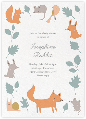 Foxy's Forest Party - Bondi - Little Cube - Baby Shower Invitations