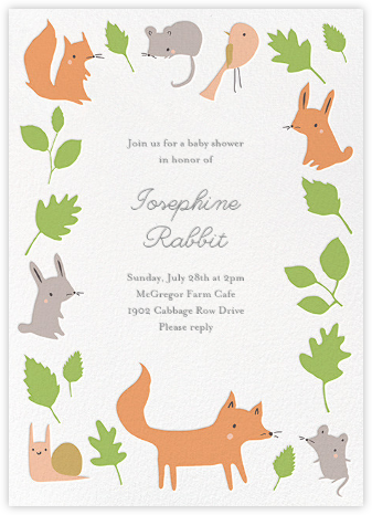 Foxy's Forest Party - Green - Little Cube - Woodland Baby Shower Invitations