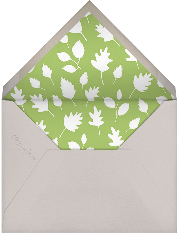 Foxy's Forest Party - Green - Little Cube - Woodland baby shower - envelope back