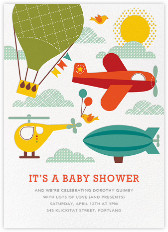 Up and at 'Em - Petit Collage - Baby shower invitations