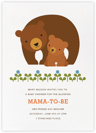 Mama and Cub - Petit Collage - Woodland Baby Shower Invitations