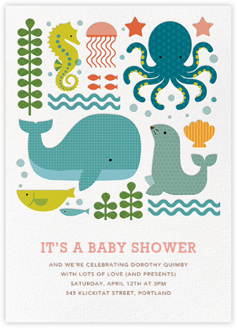 Ocean Parade (Inset) - Petit Collage - Baby Shower Invitations