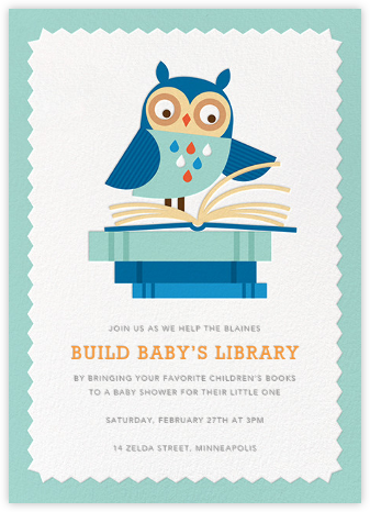 Owl-Nighter - Blue - Petit Collage - Woodland Baby Shower Invitations