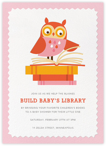 Owl-Nighter - Pink - Petit Collage - Woodland Baby Shower Invitations
