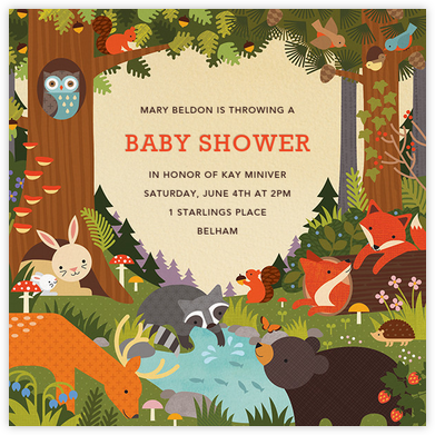 Critter Creek - Petit Collage - Woodland Baby Shower Invitations