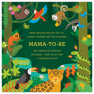 Jungle Jamboree - Petit Collage - Baby shower invitations
