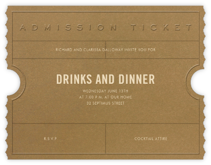 Golden Ticket (Tabac) - Paperless Post - General Entertaining Invitations