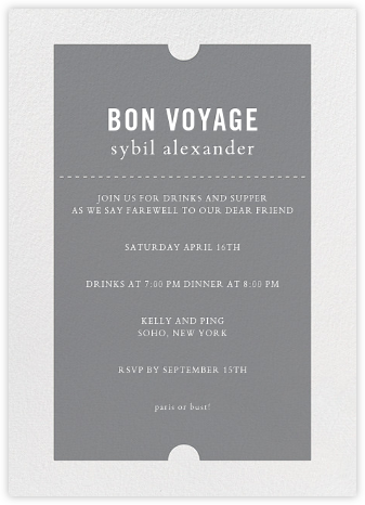 Party Pass - Gray - Paper + Cup - Retirement invitations, farewell invitations