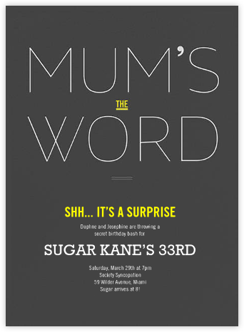 Mum's the Word - bluepoolroad - bluepoolroad invitations and cards