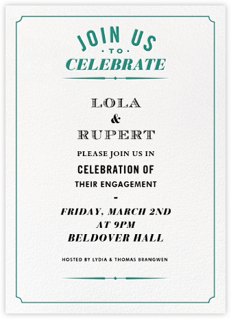 Seal The Date Tall - Emerald - Paperless Post - Engagement party invitations