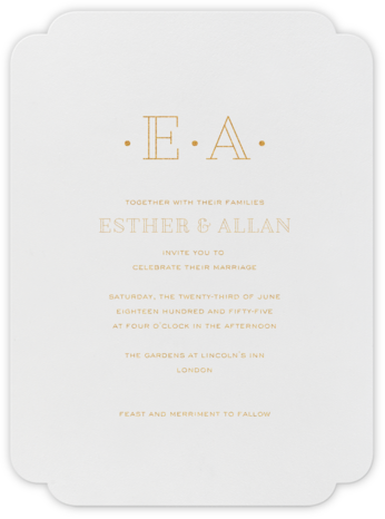 Lacquer (Invitation) - Medium Gold - Crane & Co. - Classic wedding invitations