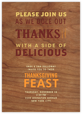 A Side of Delicious - Crate & Barrel - Thanksgiving invitations