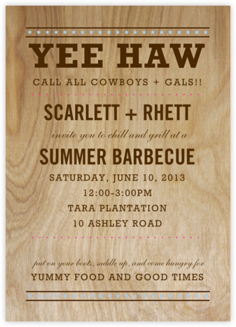 Yee Haw - Stars - Paper + Cup - Summer entertaining invitations