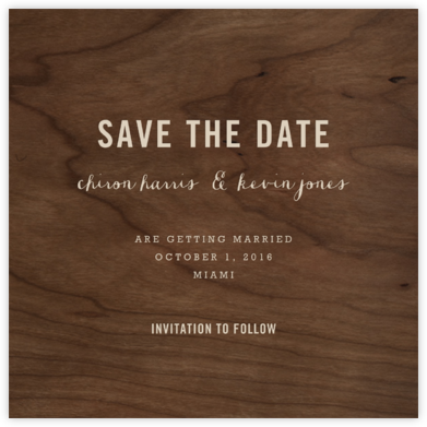 Wood Grain Dark - Square - Paperless Post - Save the dates