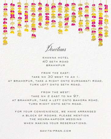 Under the Toran (Invitation) - Bright Pink - Paperless Post - All - insert front