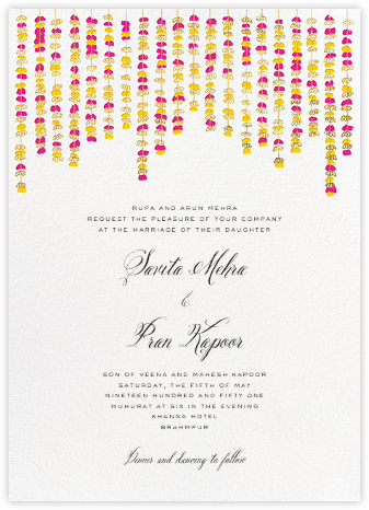 Under the Toran (Invitation) - Bright Pink - Paperless Post - Indian Wedding Cards