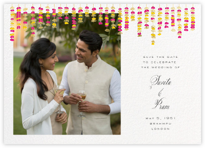 Under the Toran (Photo Save the Date) - Bright Pink - Paperless Post - Indian Wedding Cards