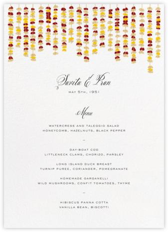 Under the Toran (Menu) - Crimson - Paperless Post - Wedding menus and programs - available in paper
