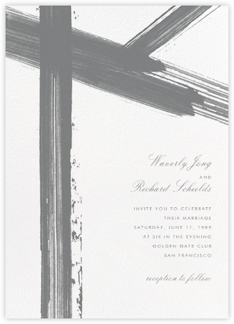 Gesso II (Invitation) - Gray/Ivory - Paperless Post - Wedding Invitations