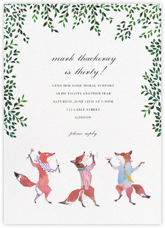 Friendly Foxes - Happy Menocal - Adult Birthday Invitations