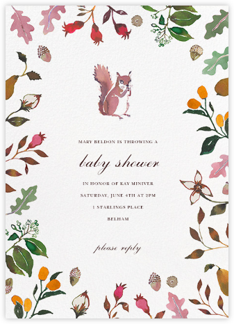 Woodland Tails - Happy Menocal - Woodland Baby Shower Invitations