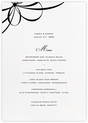 Belle Boulevard (Menu) - kate spade new york - Wedding menus and programs - available in paper