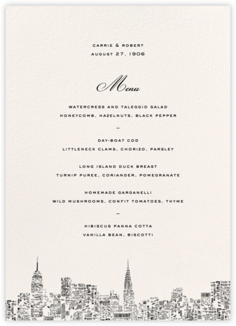 City Lights II (Menu) - kate spade new york - Kate Spade invitations, save the dates, and cards