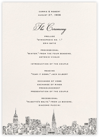 City Lights II (Program) - kate spade new york - Wedding menus and programs - available in paper